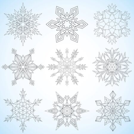contoured: Set of snowflakes. Contoured mandalas. Snowflakes for adult coloring book or art therapy.