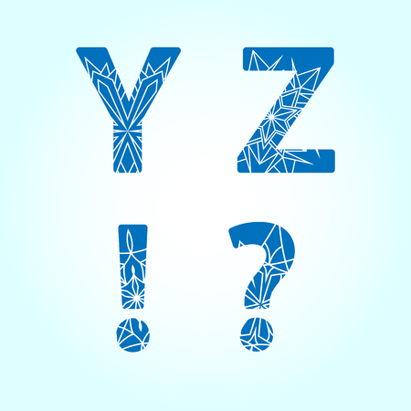 Winter abc. Letters Y Z. Set