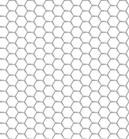 純白色の六角形のシームレスなパターン。透明な背景。