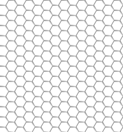 Seamless pattern of the white hexagon net. Transparent background.