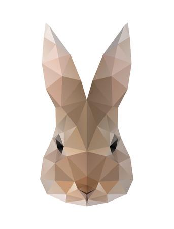 Low poly illustration. Hare, rabbit