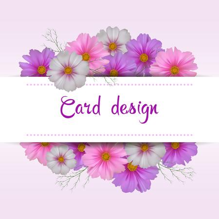 Disegno di carta fiore Cosmos. Invito floreale. Archivio Fotografico - 76584371