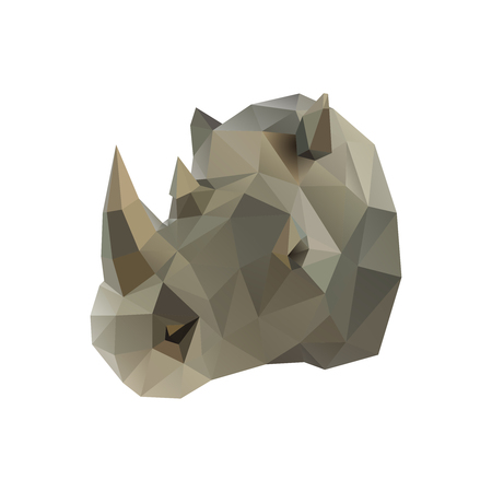 Low poly illustration. Rhino isolated on white background Çizim