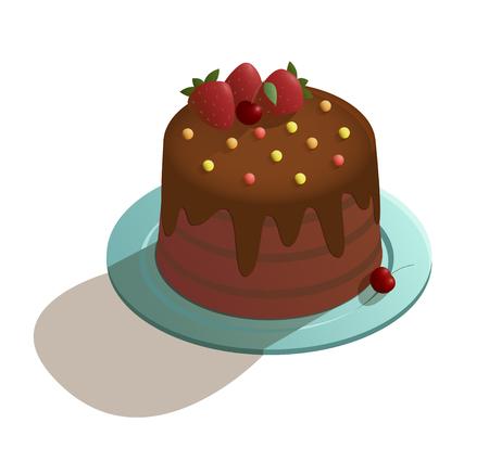 Chocolate cake in isometric style Archivio Fotografico - 106336174
