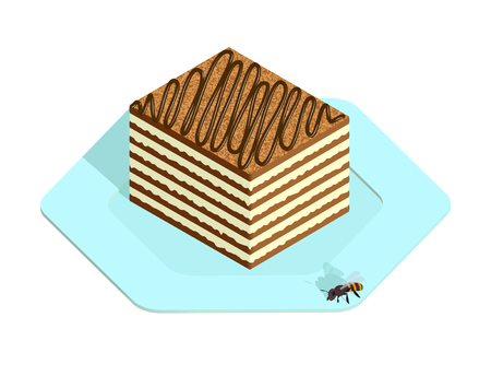 Honey cake on the plate in isometric style Archivio Fotografico - 104696480