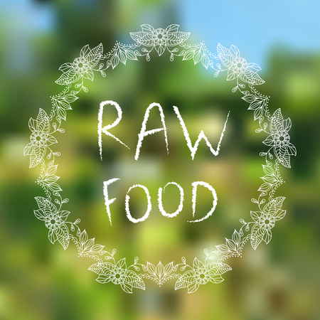 Raw food. Hand-sketched typographic elements on blured background Archivio Fotografico - 106272127