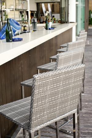 Beautiful Elegant Interior Design, Bar Counter Top With Ratan Chairs Stock  Photo   78244181