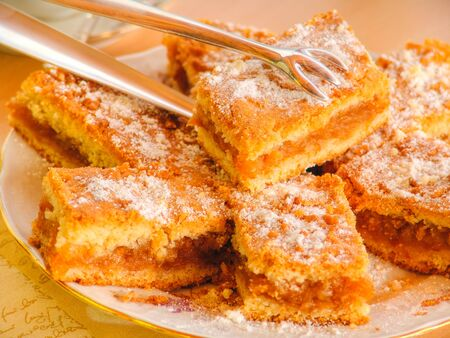 Delicious fruitty apple pie with vanilla sugar on top