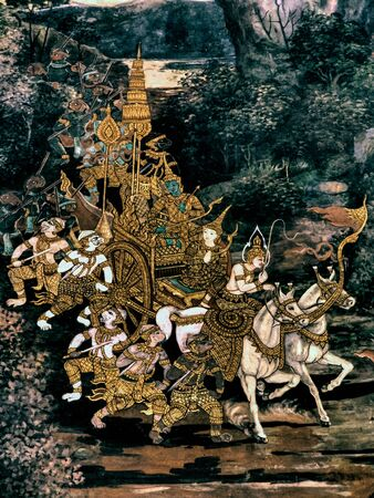 veda: Scene from the Ramakien a Thai Ramayana, masterpiece of traditional mural painting at Wat Phra Kaew king pallace in Bangkok, Thailand Stock Photo