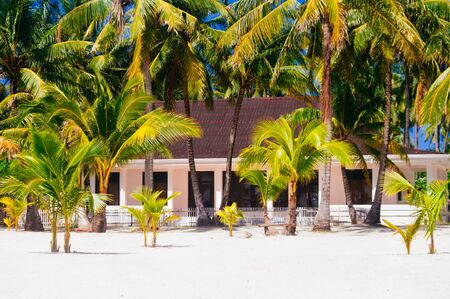 sugar palm: tropical house on the beach of bantayan island, Santafe philippines, 08.11.2016 Stock Photo