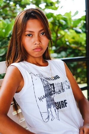 Portrait of a girl with the serious face expression