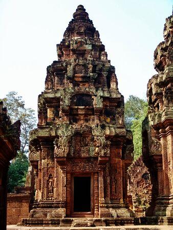 Angkor Wat - Beautiful carvings, bas reliefs of Banteay Srei Temple