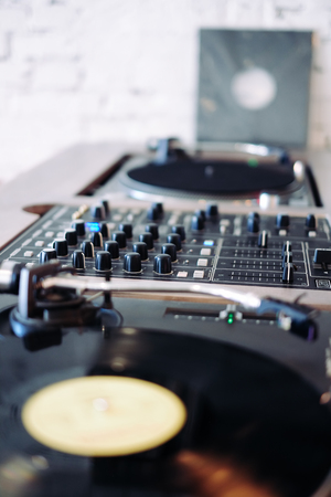 Hipster style turntable in brown wood with mixete Stock Photo