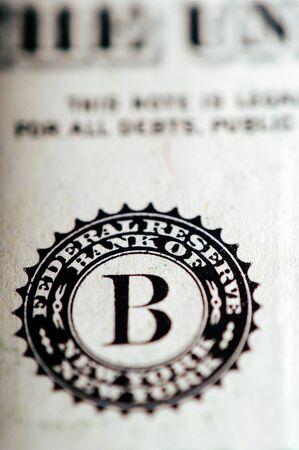 george washington: Macro fotografía de una nota de un dólar