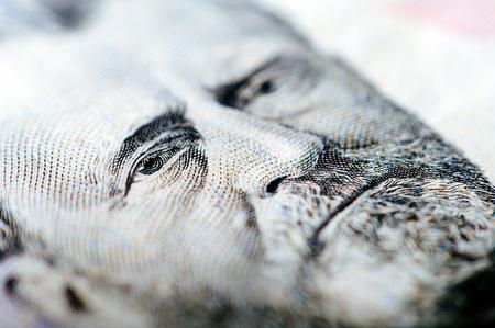 Macro photograph of a fifty dollar bill Stock Photo