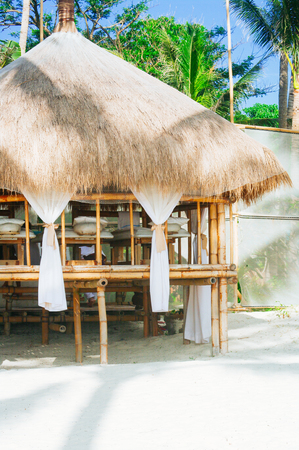 sugar palm: Spa salon on the beach of tropical island in Asia - healthcare background Stock Photo