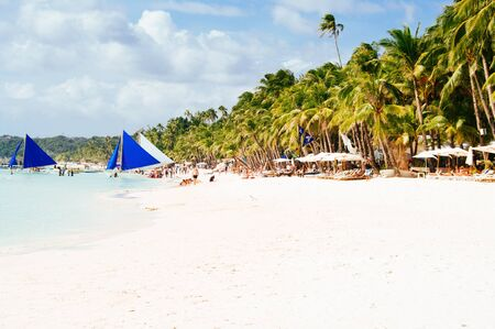 bathe: Landscape of paradise tropical island with palms and white sand beach. tourist spot in Asia Philippines