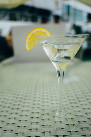 Vermouth cocktail with lemon in the glass