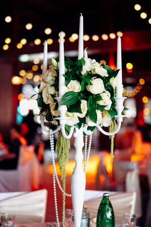 formal dinner party: Beautiful wedding table set. Wedding reception concept Stock Photo