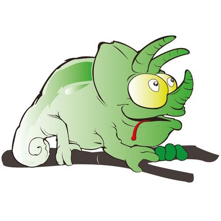 chamaeleo: chameleon green cartoon