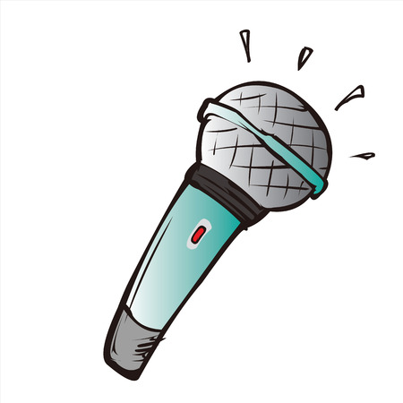 hand held: microphone cartoon Illustration