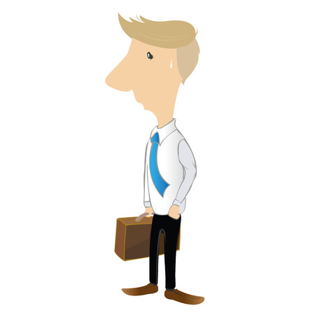 cartoon business man very tired and finish of work lately over times hard working, He walk from office with fatigue, vector illustration.