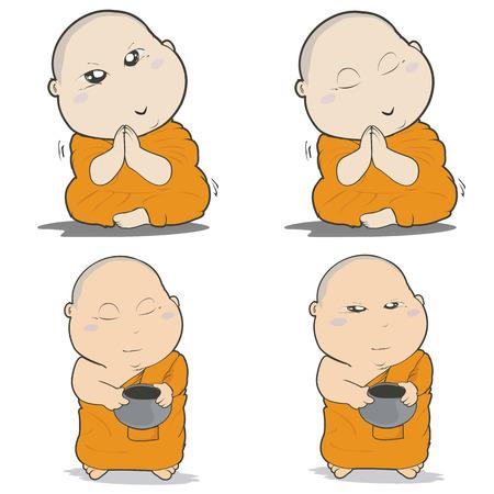 introspection: Buddhist Monk Character Cartoon Design-Vector Illustration Illustration