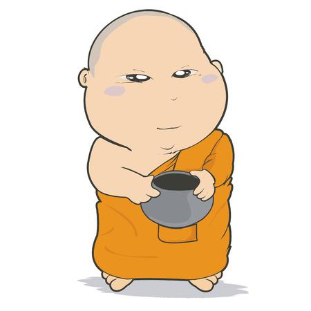 novice: Buddhist Monk Character Cartoon Design-Vector Illustration Illustration