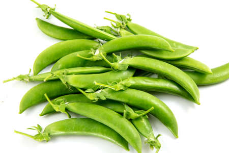 sweet sugar snap: sugar snaps peas on white background