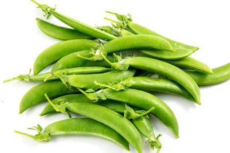 sweet sugar snap: sugar snaps peas on white background