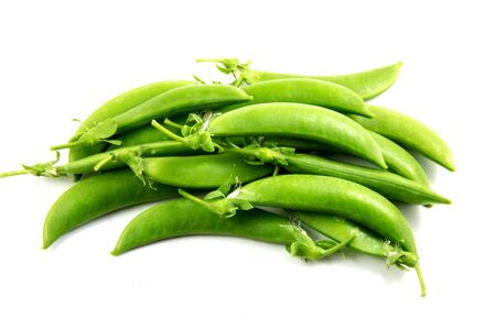 snaps: sugar snaps peas on white background