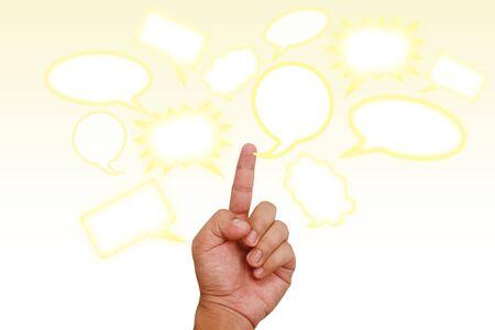 Hand pointing on blank speech balloon Stock Photo - 9856542
