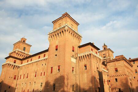 Castle in Ferrara with blue sky, Italy