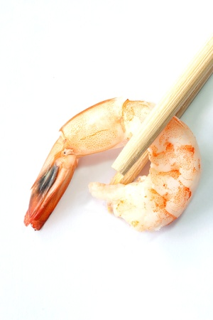 Fresh shrimp with chopstick photo