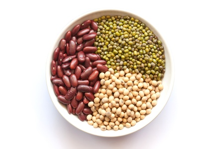 Red bean, green bean, and soy bean in bowl photo