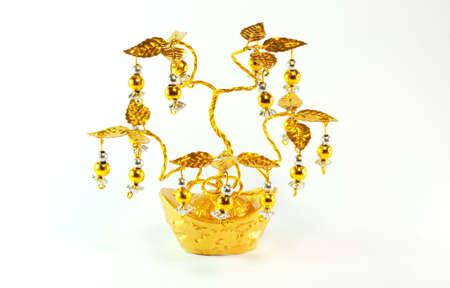 Golden Chinese tree on white background Stock Photo - 11759693