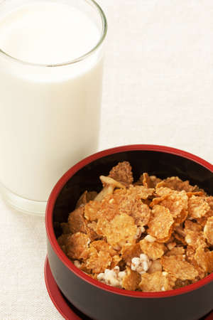 Cereals made from whole grain and milk Stock Photo
