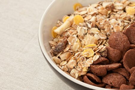 Cereals made from whole grain and chocolate crunchy photo