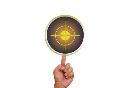 Hand pointing on target button Stock Photo - 13060146