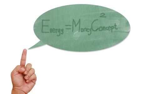 Hand pointing on energy speech balloon Stock Photo - 13090275