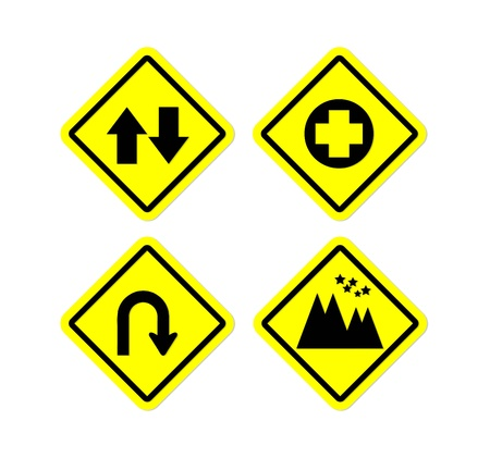 mount price:  Four yellow road sign style Stock Photo