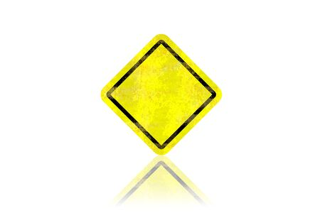 Blank dirty yellow road sign with reflection Stock Photo - 13450949