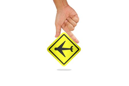 Hand hold airplane sign with shadow Stock Photo - 13450950