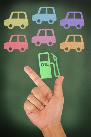 Hand hold oil head with car Stock Photo - 13592208