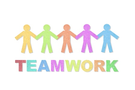 People and teamwork word created from paper photo