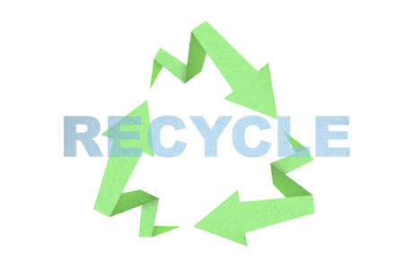 Recycle sign created with arrow origami paper texture style  Stock Photo