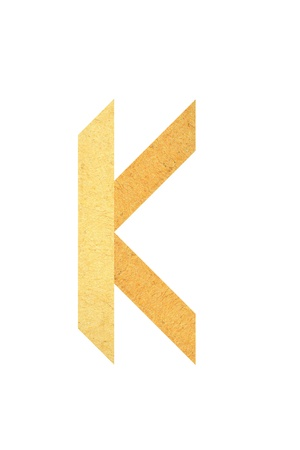 K font created from textured paper in origami style