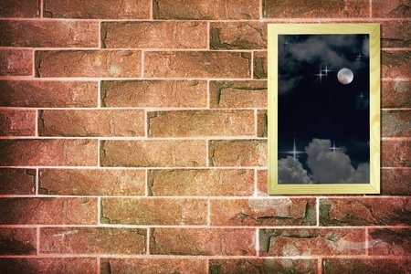 Full moon on wood frame on vintage brick wall background photo
