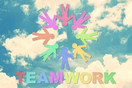 People and teamwork word created from paper Stock Photo - 14027287