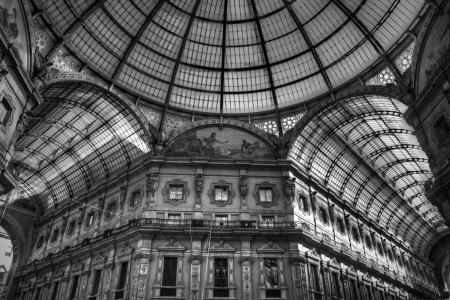 Dome at Milan, Italy with black and white HDR technique Stock Photo